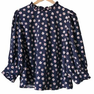 Scoop floral ruffle collar blouse top blue XL
